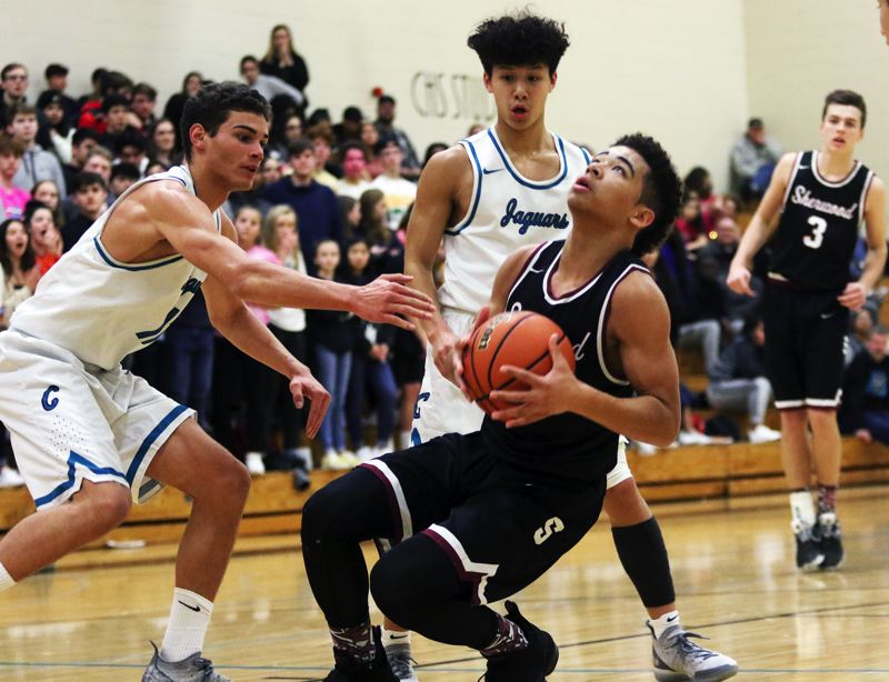 TIMES PHOTO: DAN BROOD - Sherwood junior guard Jamison Guerra is hit as he tries to get to the basket during Friday's game. Guerra had seven assists in the 66-49 victory.