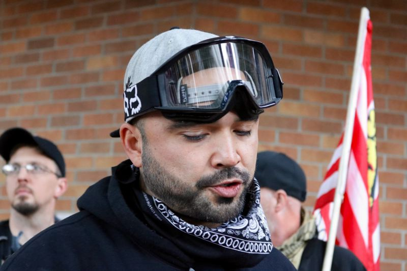 TRIBUNE FILE PHOTO - Patriot Prayer leader Joey Gibson is shown here during a rally that turned violent in downtown Portland last Oct. 13. His chatty text messages with Police Lt. Jeff Niiya have fueled claims the Portland Poliice have collaborated with far-right activists, some of whom seek violence.