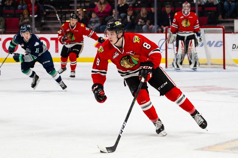 COURTESY: MATTHEW WOLFE - Cody Glass skates up the ice for the Portland Winterhawks during their Sunday victory over Seattle.