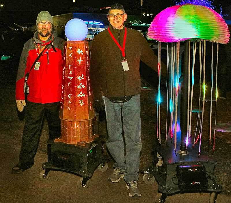 DAVID F. ASHTON - Wheeling around mobile artworks were Richard Miner - with the Obelisk that provides the wisdom of the ages - and Tom Barnes with Jellyfish, inspired by his fondness of anime.