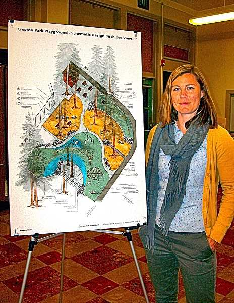 RITA A. LEONARD - Joanne Schwartz, Landscape Architect at Mayer-Reed, Inc., presented the planned new Creston Park playground design. Work to update the park begins in about a year.