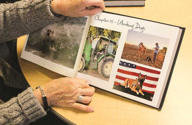 HOLLY SCHOLZ/CENTRAL OREGONIAN  - Diane Dunbar shows the page in her brother's photo book that features her neighbor Judd Bowen's working dogs on a Powell Butte ranch.