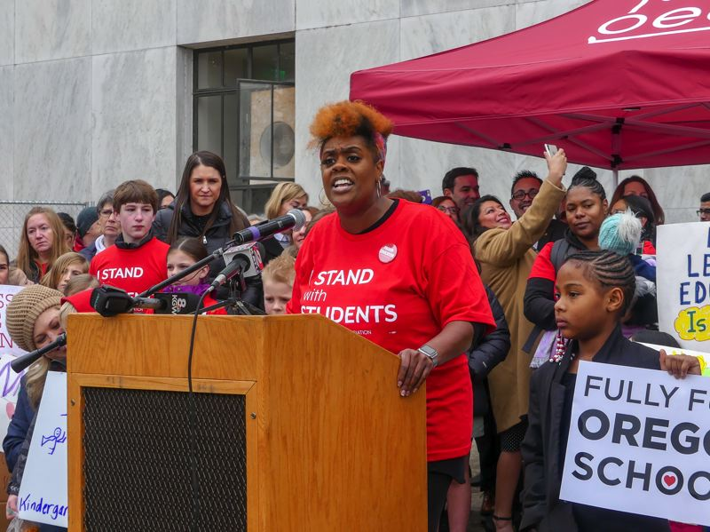 COURTESY PHOTO: RACHEL ALEXANDER/OREGON CAPITAL BUREAU - Portland fourth-grade teacher Nichole Watson of Rosa Parks Elementary School, told teachers and supporters gathered Monday, Feb. 18, in Salem that her students deserve 'my undivided attention.'