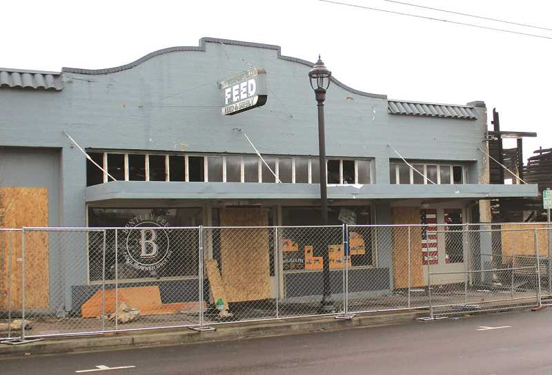 CAROL ROSEN - Pictured is what remains of Bentley Feed. With the help of the community, owners have moved the business to a temporary location.