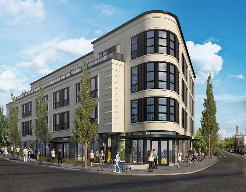Latest artist rendering of Multnomah Station Apartments, which are being built next door to the Village Hut.