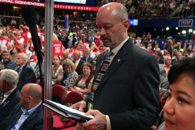 OPB PHOTO - Bill Currier, chairman of the Oregon Republican Party, prepares to announce Oregon's votes during the roll call at the Republican National Convention in Cleveland on July 19, 2016.