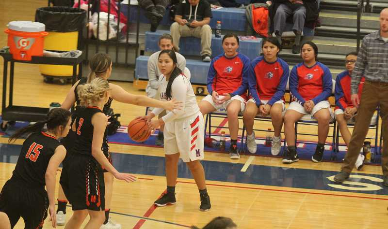 STEELE HAUGEN - Jiana Smith-Francis scored 14 points for the Lady Buffs on Thursday. Madras will likely have a state playoff game and travel on the road.