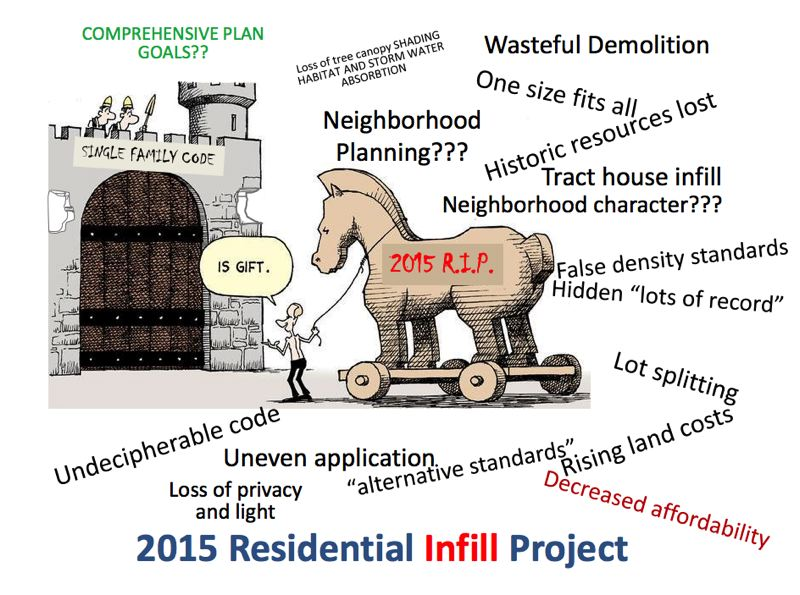 COURTESY ROD MERRICK - Portland architect Rod Merrick, critic of the current Residential Infill Project recommendations, created and distributed this cartoon predicting it would undermine single-family neighbors in 2015.