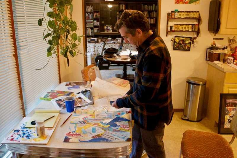PMG  PHOTO: CHRISTOPHER KEIZUR - Mike Schuster paints his collages at his kitchen table.