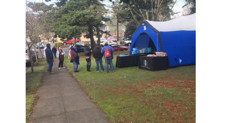 PHOTO COURTESY CLACKAMAS FIRE - Folks line up for various services outside the tent at the Feb. 6 Resource Fair at Barclay Park in Oregon City.