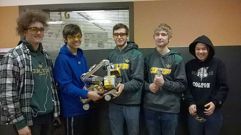 COURTESY PHOTO: ALLAN BRUNER - The CHS Robotics team members are (from left to right): Cameron Clark, Peter Woodward, Reed Schrosk, Christian Weinberger and Anna Wimsatt.