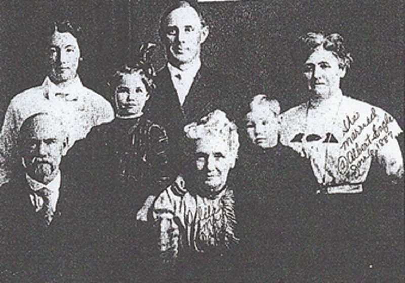 BULLETIN NEWSPAPER, OCTOBER 31, 1973 - Front row from left:  Peter S. Noyer, Jr., and his wife, Delilah, with their family. The article in the Bulletin was about the 100th anniversary of the Mulino Grange #40, which was founded on October 20, 1873.  The Noyers were founding members.