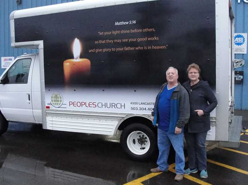 COURTESY OF WOODBURN AUTOMOTIVE - Woodburn Automotive owners Richard and Mary Edmonds had an apt biblical verse their granddaughter shared with them etched on the food-share truck they donated to Peoples Church in Salem.
