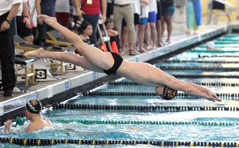 PAMPLIN MEDIA GROUP PHOTO: MILES VANCE - Molalla junior Linden MacKenzie dives into the pool during his team's 200-yard medley relay race at the Class 4A/3A/2A/1A state swim meet at Tualatin Hills Aquatic Center on Friday.