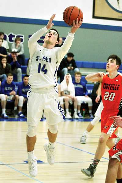PHIL HAWKINS - St. Paul senior Justin Herberger scored a game-high 25 points, including three three-pointers, to lead the Bucks to a 63-47 victory over the Eddyville Eagles in the first round of the 2019 1A state playoffs on Tuesday.