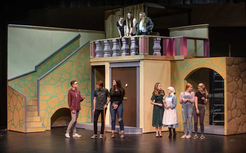 SPOKESMAN PHOTO: JONATHAN HOUSE - Actors rehearse for the Wilsonville High performance of 'Much Ado About Nothing.'