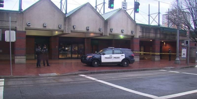 KOIN 6 NEWS IMAGE - Portland police investigate a stabbing at the Greyhound Bus Depot.