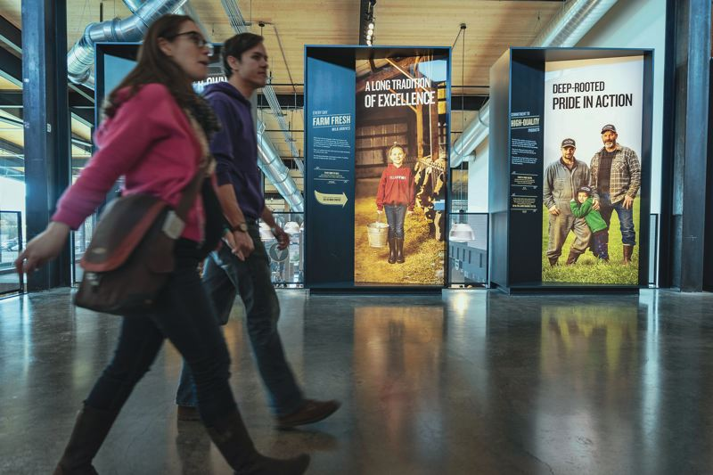 PAMPLIN MEDIA GROUP: KEITH SHEFFIELD - The renovated Creamery vistors center features exhibits that tell the stories of the farmers behind Tillamook's cheese, ice cream and other dairy products.