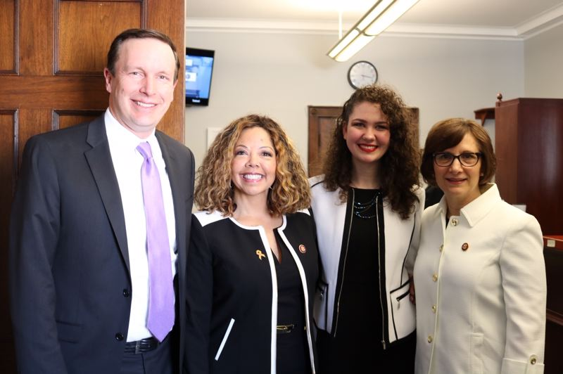 SUBMITTED PHOTO: NATALIE CROFTS - Alexandria Goddard (second from right), a student at Portland State University, joins Rep. Suzanne Bonamici at the State of the Union address in Washington, D.C. With Goddard and Bonamici are Senator Chris Murphy of Connecticut and Rep. Lucy McBath of Georgia.