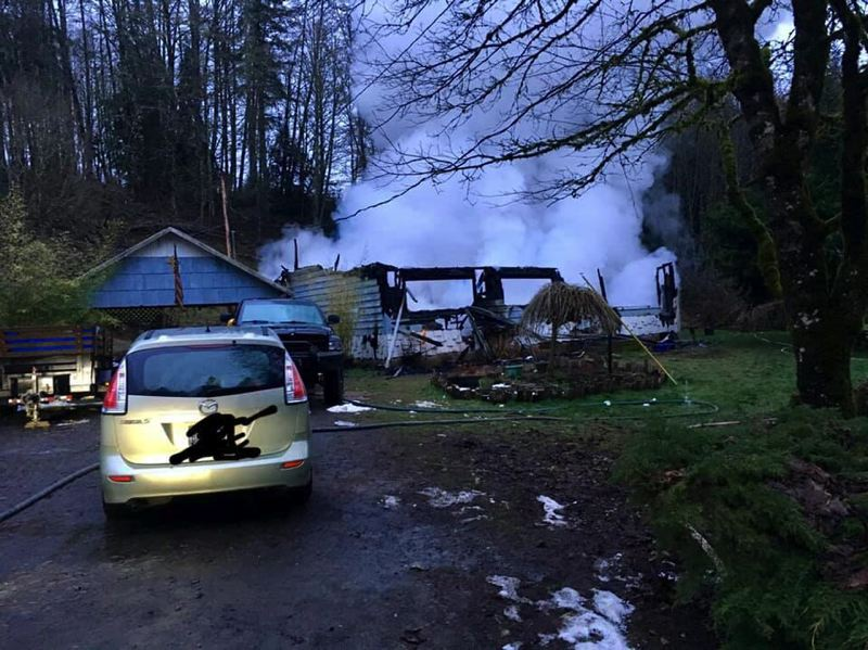 PHOTO COURTESY OF COLUMBIA RIVER FIRE AND RESCUE - Columbia River Fire and Rescue firefighters were dispatched to a house fire on Saturday, Feb. 16, just before 6 a.m. The house was determined to be uninhabitable after the blaze, and the cause of the fire is still under investigation.