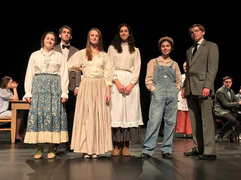 COURTESY PHOTO - CHS students rehearse for 'Our Town,' opening March 1.