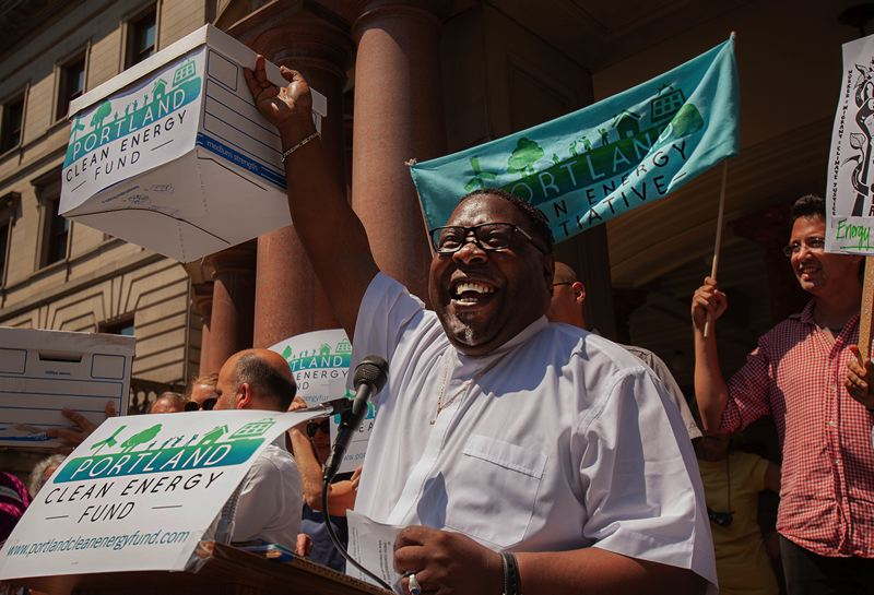 TRIBUNE FILE PHOTO - The Rev. E.D. Mondaine speaks at a campaign rally for the Portland Clean Energy Fund.