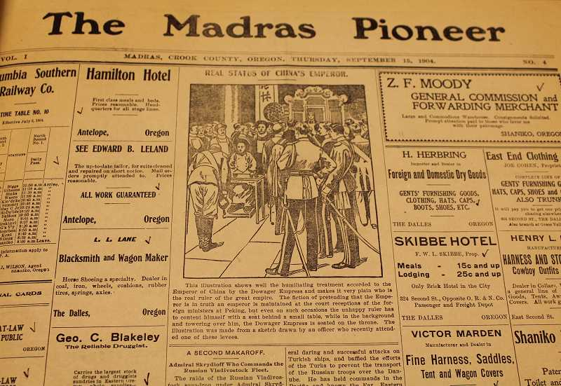 MADRAS PIONEER PHOTO - The history of the Madras Pioneer newspaper, which dates back to the end of August 1904, will be the subject of a History Pub Friday, Feb. 22.