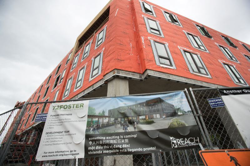PORTLAND TRIBUNE FILE PHOTO - An affordable housing project under construction in Southeast Portland.