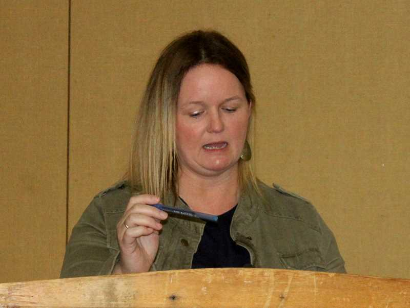 SUSAN MATHENY/MADRAS PIONEER - Rebecca Keegan, the smoke management coordinator for Jefferson County, gives a report at the Farm Fair and Trade Show Feb. 6.