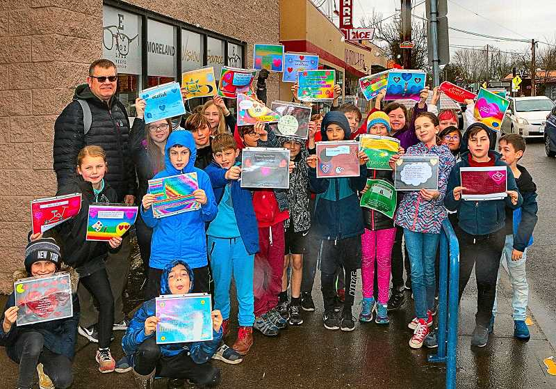 DAVID F. ASHTON - On the streets of Westmoreland, the Llewellyn Elementary School fifth-grade students in Marty Crousers class delivered Valentines Day cards to supportive business managers and owners.