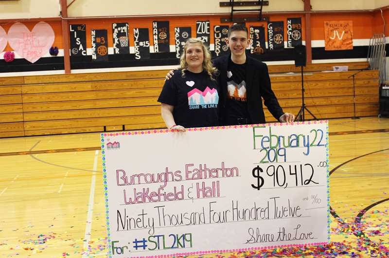 KRISTEN WOHLERS - Share the Love coordinators Isabella Dutton and Clay Sperl show off the big check Friday, Feb. 22.
