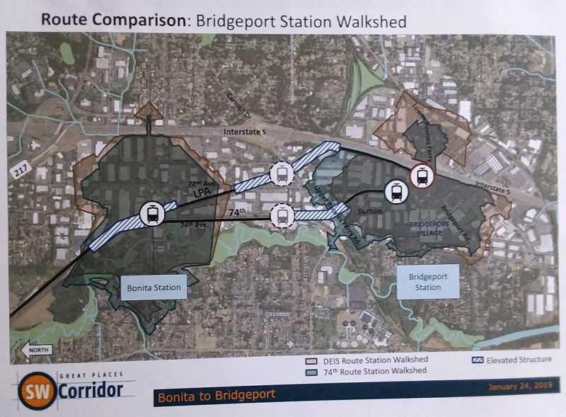 COURTESY OF TRIMET - TriMet is considering two routes, both elevated in portions, once the Southwest Corridor comes through the city.