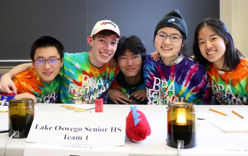 TRIBUNE PHOTO: ZANE SPARLING - Lake Oswego High students (from left) Trevor Li, Matthew Seeley, Chuck Lu, Elena Lee and Erica Chiang form the school's Regional Science Bowl team.