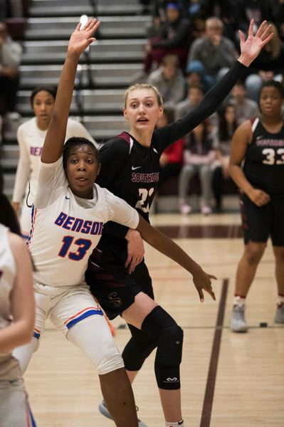 PAMPLIN MEDIA GROUP: JAIME VALDEZ - Imani Harris, a 6-2 post guarding Southridge star Cameron Brink, has given the Techsters more of a presence on defense.