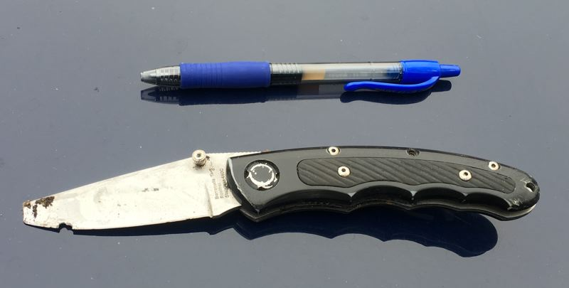PPB PHOTO - Police say this knife was used to stab a paramedic in downtown Portland on Feb. 25.
