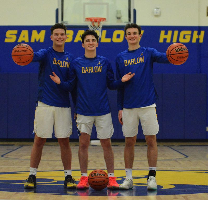 OUTLOOK PHOTO: DAVID BALL - Barlows (from left) Dominic Jacoby, Jesse White and Evan Inglesby each finished among the top 10 in MHC scoring with White leading the list at 23.6 points per game.
