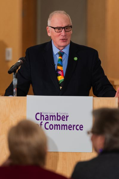 STAFF PHOTO: CHRISTOPHER OERTELL - Forest Grove Mayor Pete Truax speaks during the 2019 State of the City luncheon Monday, Feb. 25.