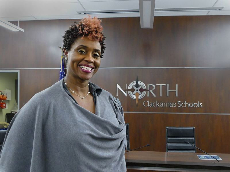 PHOTO COURTESY: SETH GORDON - Libra Forde smiles after being sworn into the North Clackamas School Board on Feb. 14.