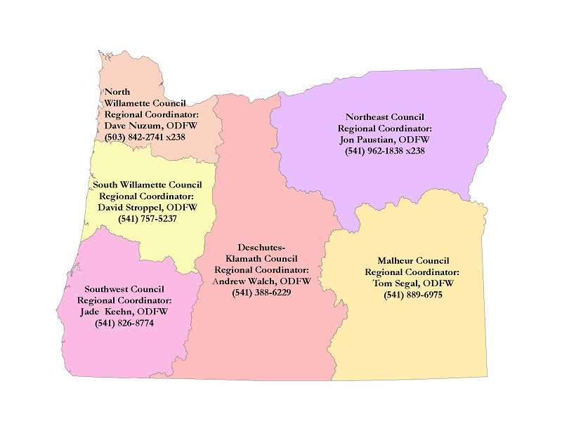 ODFW - Pictured is the map of regional councils. In addition to the statewide position, regional councils have vacancies. Applicants for regional council positions should live or work in the region they want to represent.