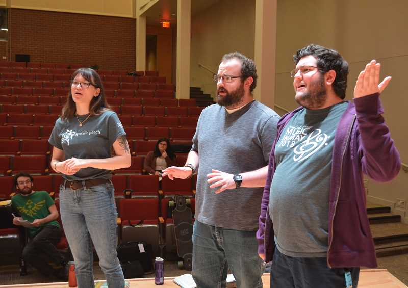 STAFF PHOTO: JANAE EASLON - Pacific studentss rehearse for 'H.M.S. Pinafore,' the music department's first show in its spring music series on campus.