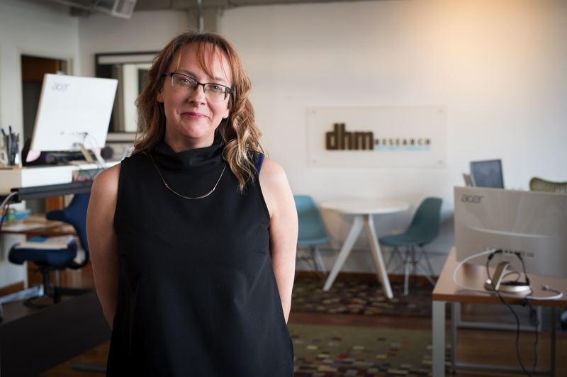 PMG PHOTO: JAIME VALDEZ - Michelle Neiss, PhD, was recently promoted from VP of research to Chief Executive Officer at DHM Research. The firm researches public opinion on weighty issues such as livability and transportation, aiding government with strategy and policy.