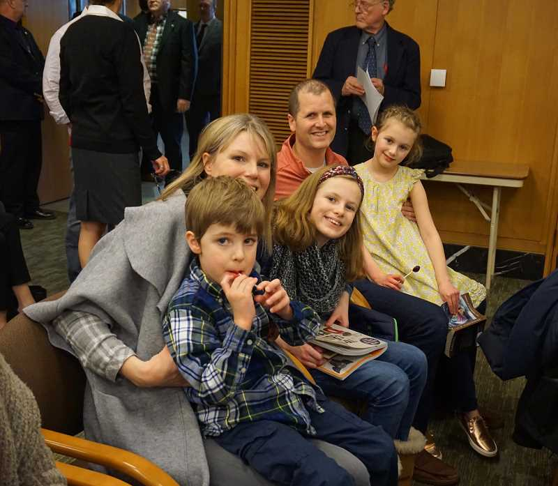 REVIEW PHOTO: CLAIRE HOLLEY - The West family (parents Stephanie and Nick, son Noah and daughters Libby and Gabby), who were close with Alter Wiener, came to Salem to support Senate Bill 664.