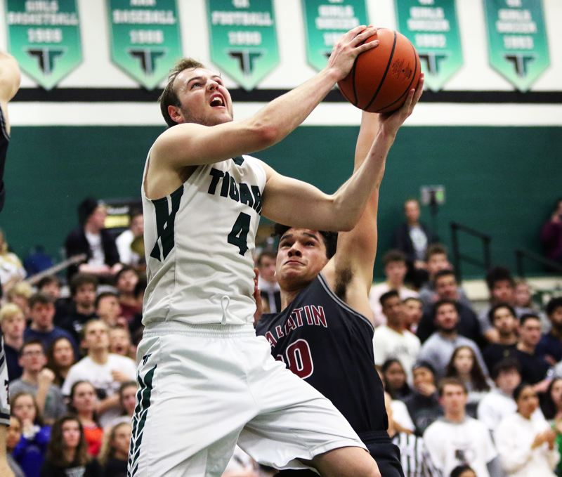PMG PHOTO: DAN BROOD - Senior Stevie Schlabach leads the Tigard High School boys basketball team, and the Three Rivers League, with a scoring average of 22.9 points a game.