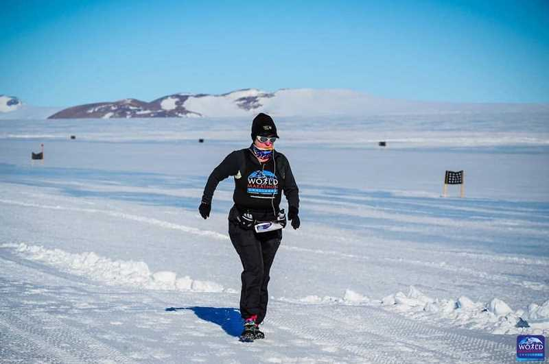 COURTEY PHOTO - Ginny Turner, 66, recently completed seven half-marathons on all seven continents, including a race in Antarctica on Jan. 31. She was one of 41 racers to compete in the the World Marathon Challenge.
