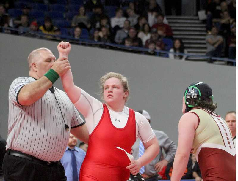 STEELE HAUGEN - Bailey Dennis becomes a three-time state champion after defeating her title challenger in a 5-1 decision.