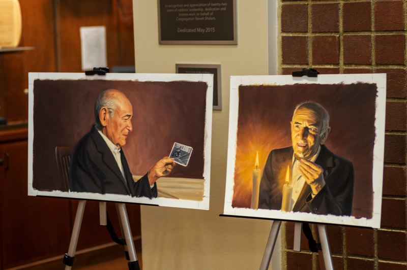 PMG PHOTO: DIEGO G. DIAZ - Portraits and artwork of Hillsboro resident and Holocaust survivor Alter Wiener were displayed at his Dec. 14, 2018, funeral in Portland. Wiener was working with students and lawmakers to advance the cause of Holocaust education in schools at the time of his death in December.