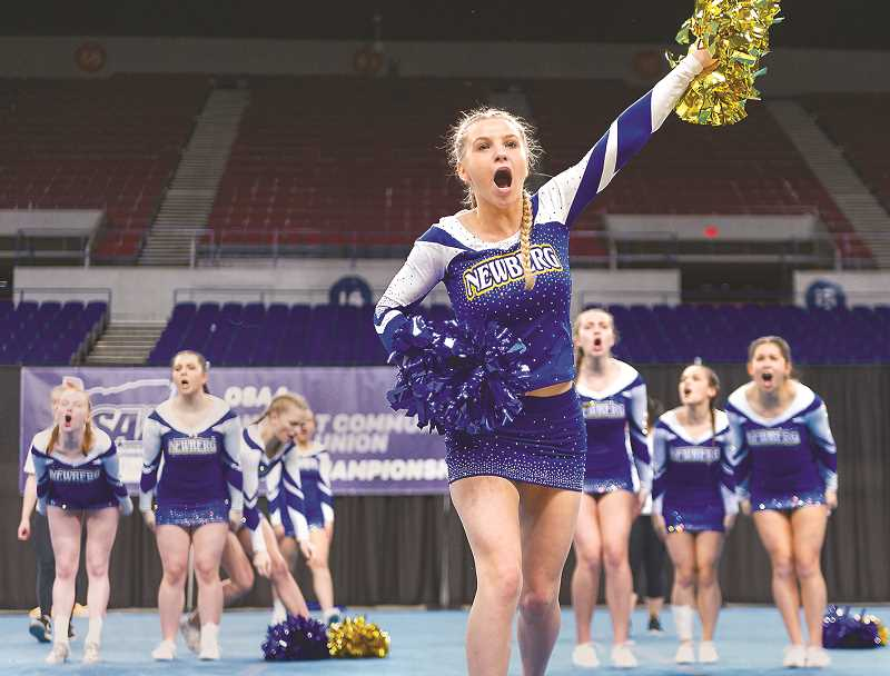 PMG PHOTO - The Newberg High School cheer team missed a state championship at Memorial Coliseum on Feb. 16.
