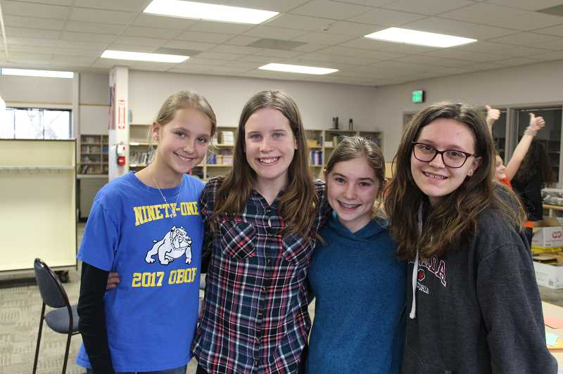 KRISTEN WOHLERS - The 'Book Memorizers'; from Ninety-One School pose for a picture after winning the 6th-8th grade district OBOB tournament on Tuesday, Feb. 19. They are, from left to right, Jolie Rodolph, Audrey Burke, Hailey Magenheimer and Olyvia Gilmore.