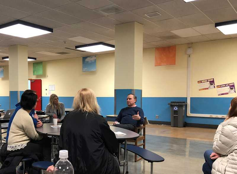 Superintendent Trip Goodall responds to parent questions at the first 'Coffee with the Superintendent' event at Knight Elementary on Feb. 25.
