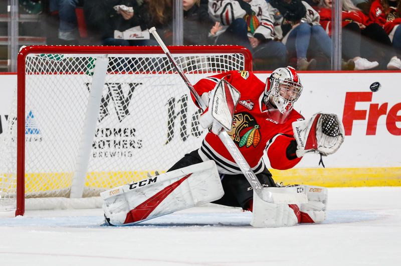 COURTESY: BEN LUDEMAN, PORTLAND WINTERHAWKS - Shane Farkas has continued to make big saves for the Portland Winterhawks as he shares goaltending duties with Joel Hofer.